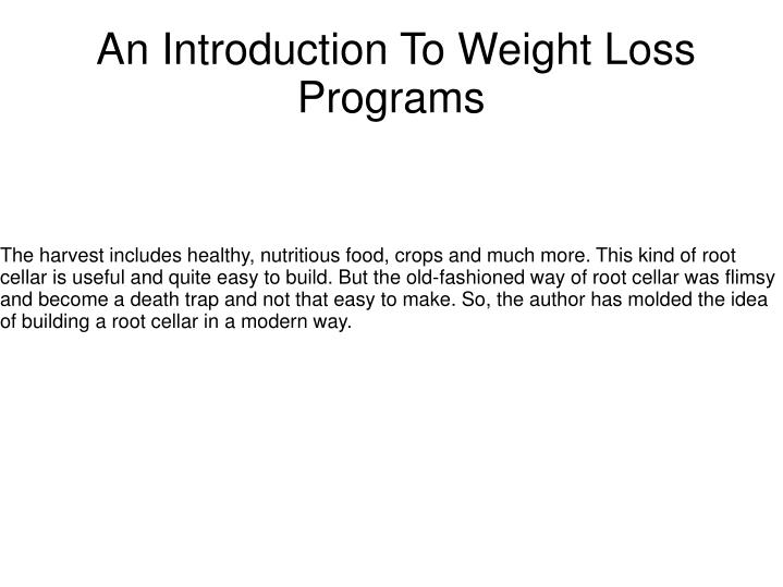 an introduction to weight loss programs n.