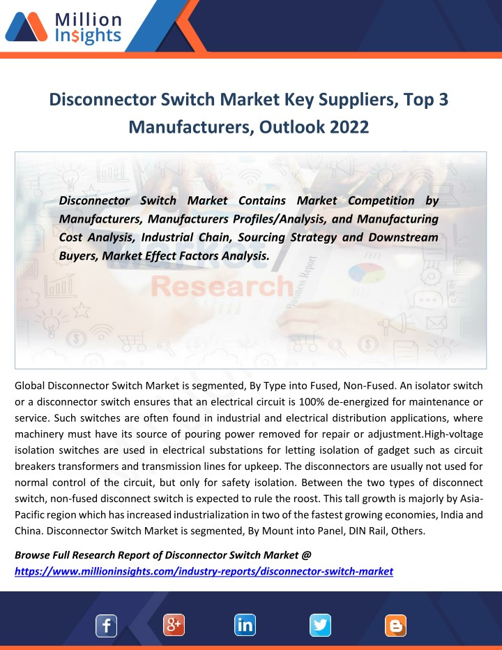 disconnector switch market key suppliers n.