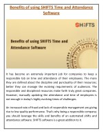 benefits of using shifts time and attendance