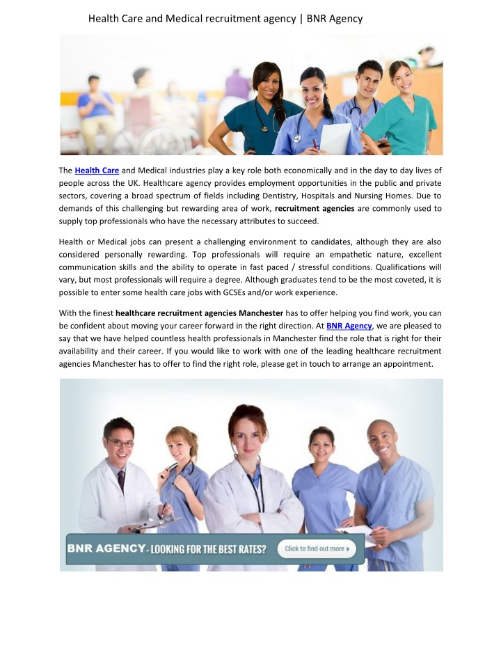 health care and medical recruitment agency n.