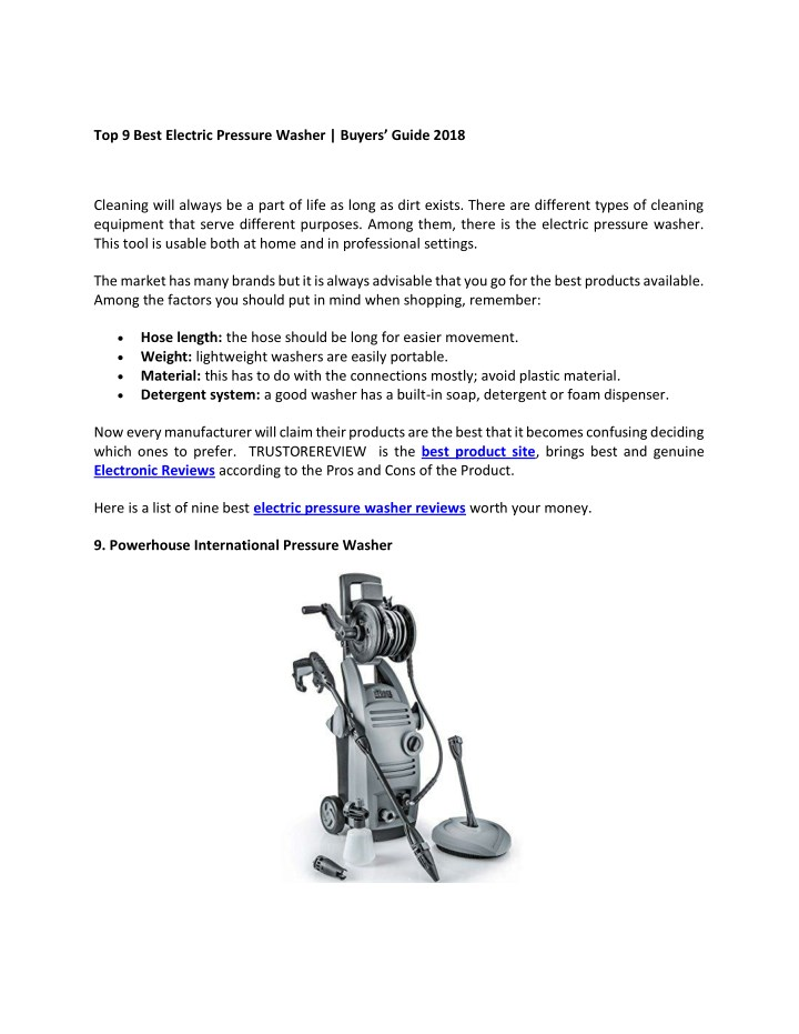 to p 9 best electric pressure washer buyers guide n.