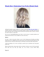 blonde hair maintaining your perfect blonde shade