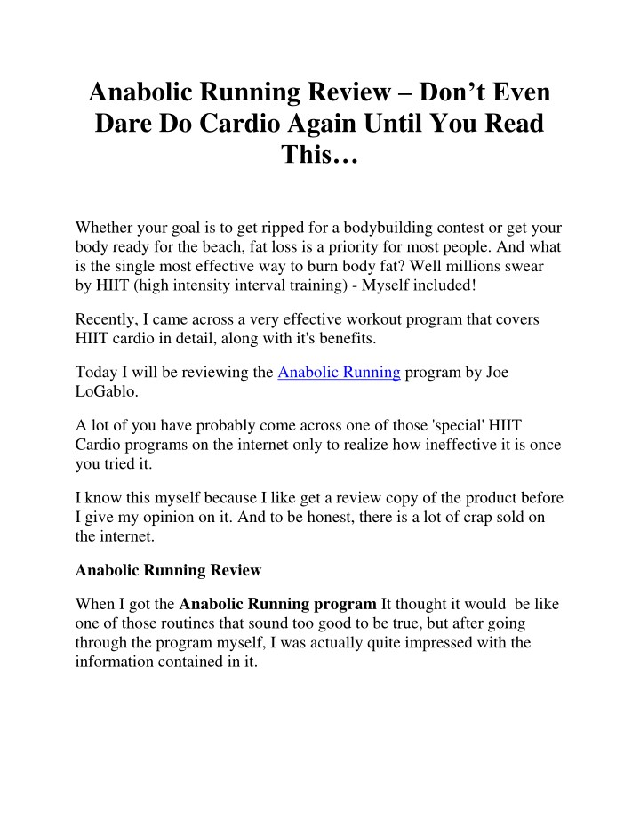 anabolic running review don t even dare do cardio n.