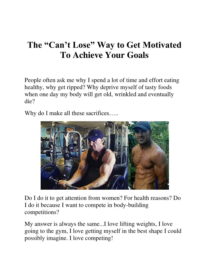 the can t lose way to get motivated to achieve n.