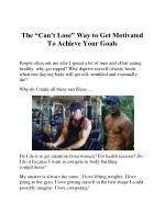 the can t lose way to get motivated to achieve