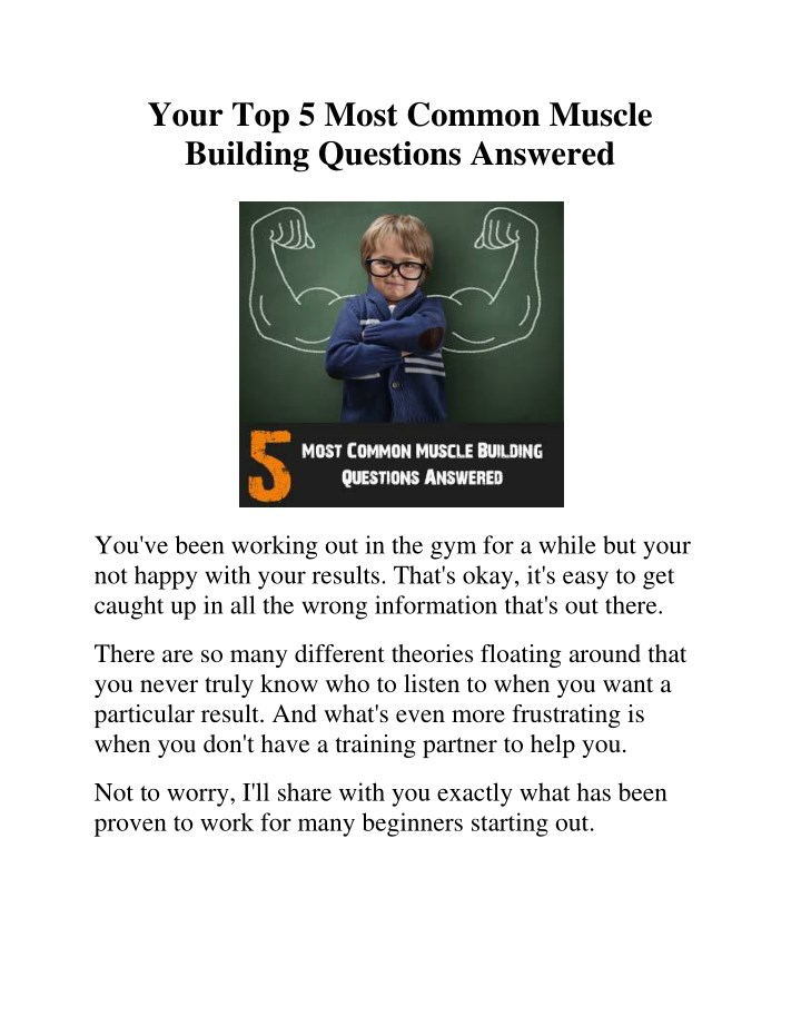 your top 5 most common muscle building questions n.