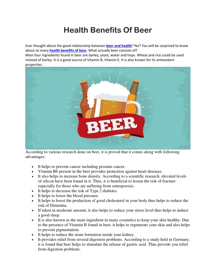 health benefits of beer ever thought about n.