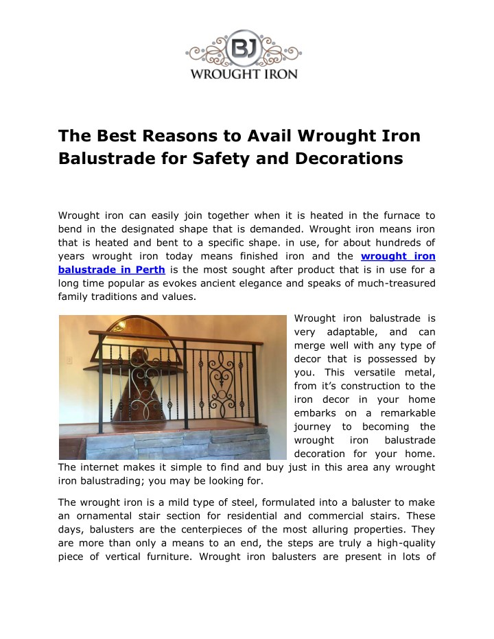 the best reasons to avail wrought iron balustrade n.