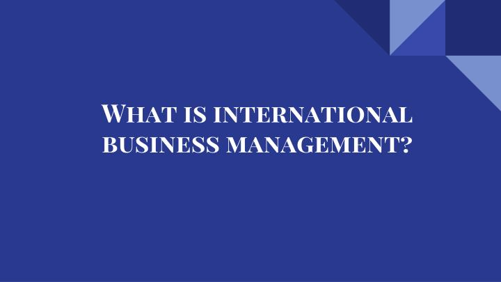 what is international business management n.