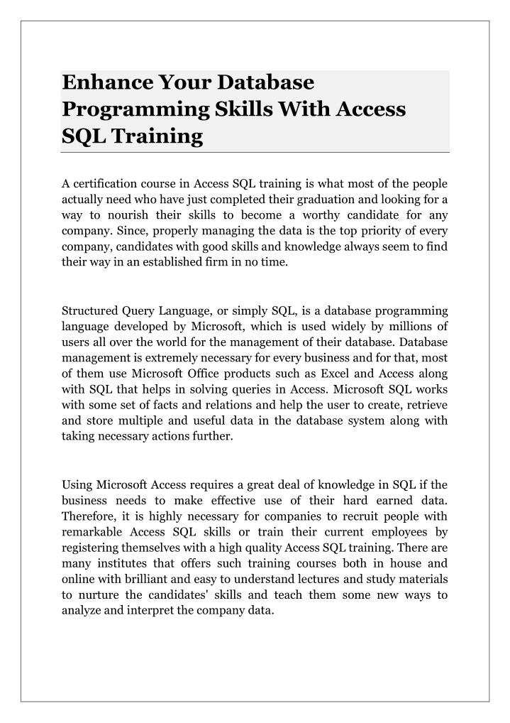 enhance your database programming skills with n.