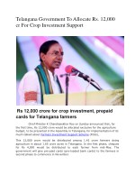 telangana government to allocate
