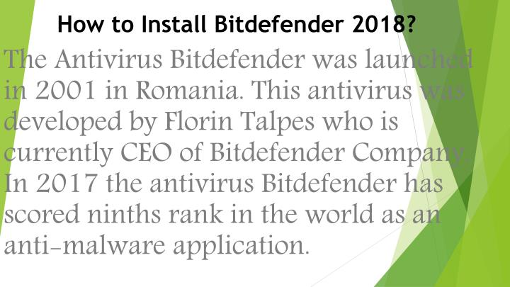 how to install bitdefender 2018 n.