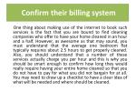 confirm their billing system