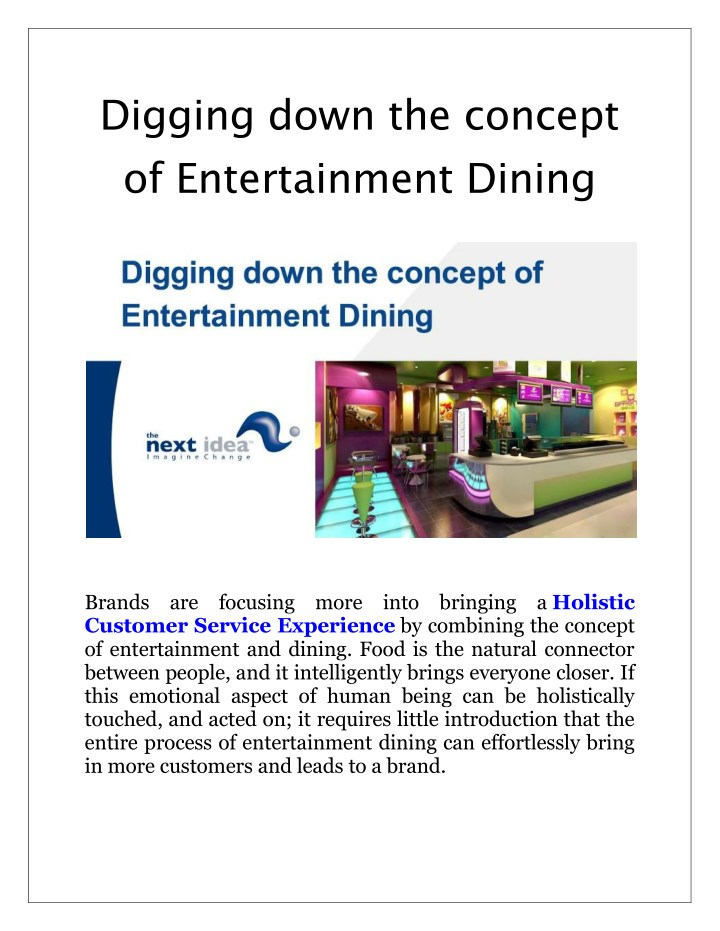 digging down the concept of entertainment dining n.