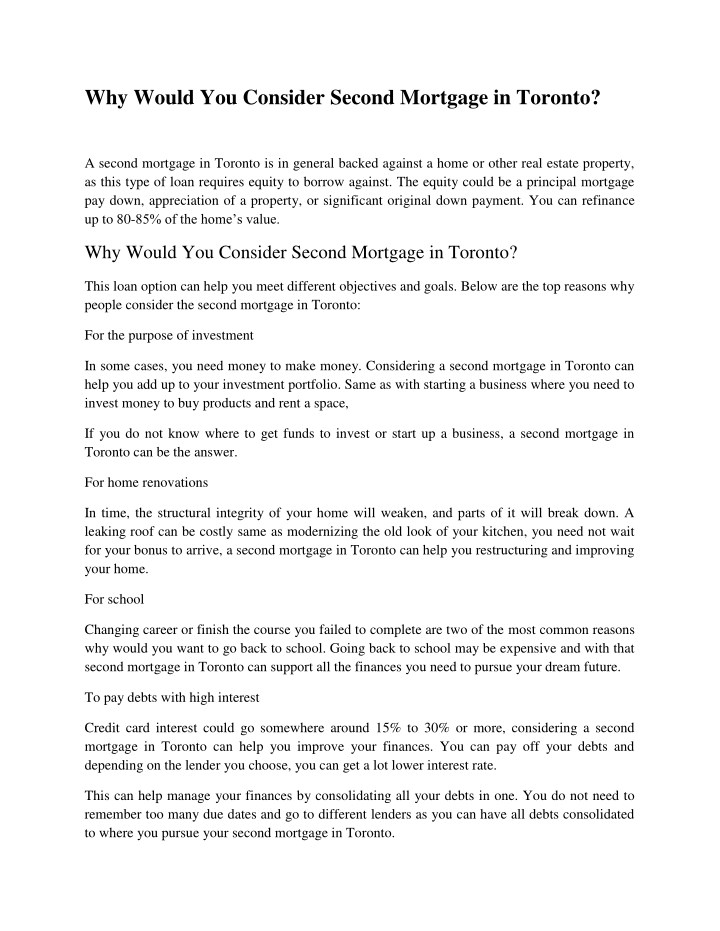 why would you consider second mortgage in toronto n.
