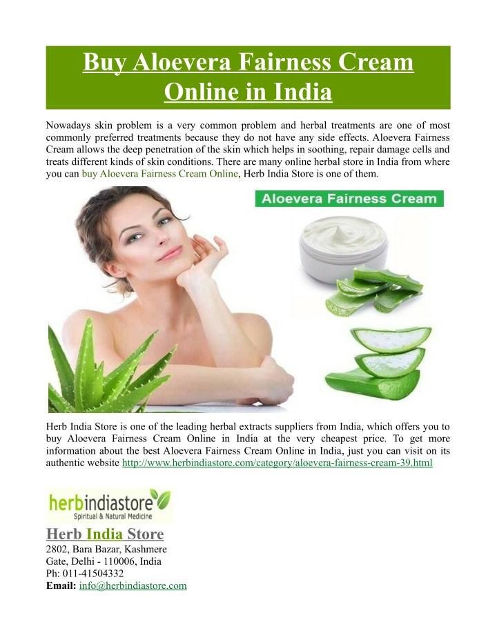 buy aloevera fairness cream online in india n.