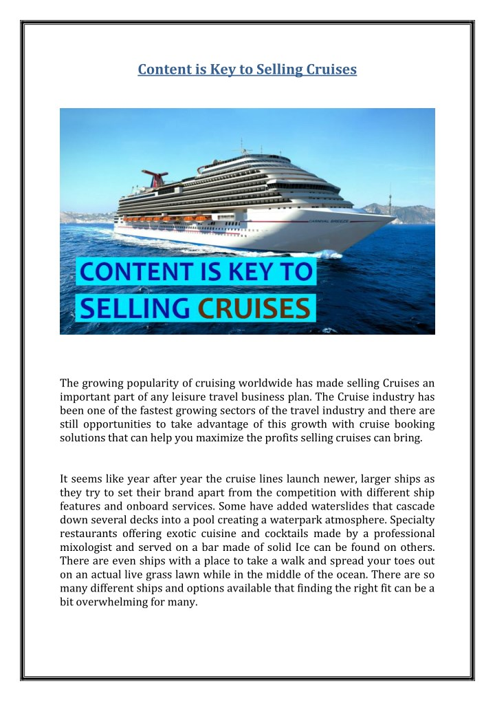 content is key to selling cruises n.