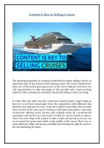 content is key to selling cruises