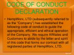 code of conduct declaration