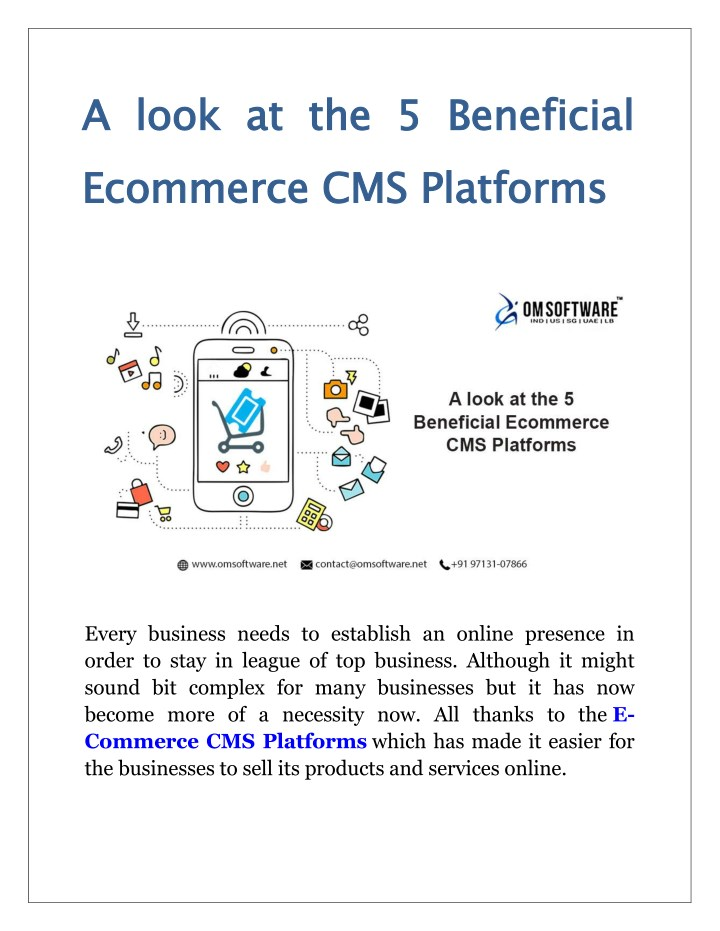 a look at the 5 beneficial ecommerce cms platforms n.
