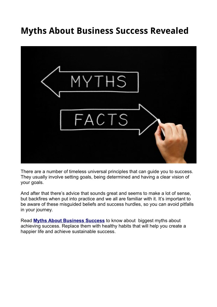 myths about business success revealed n.