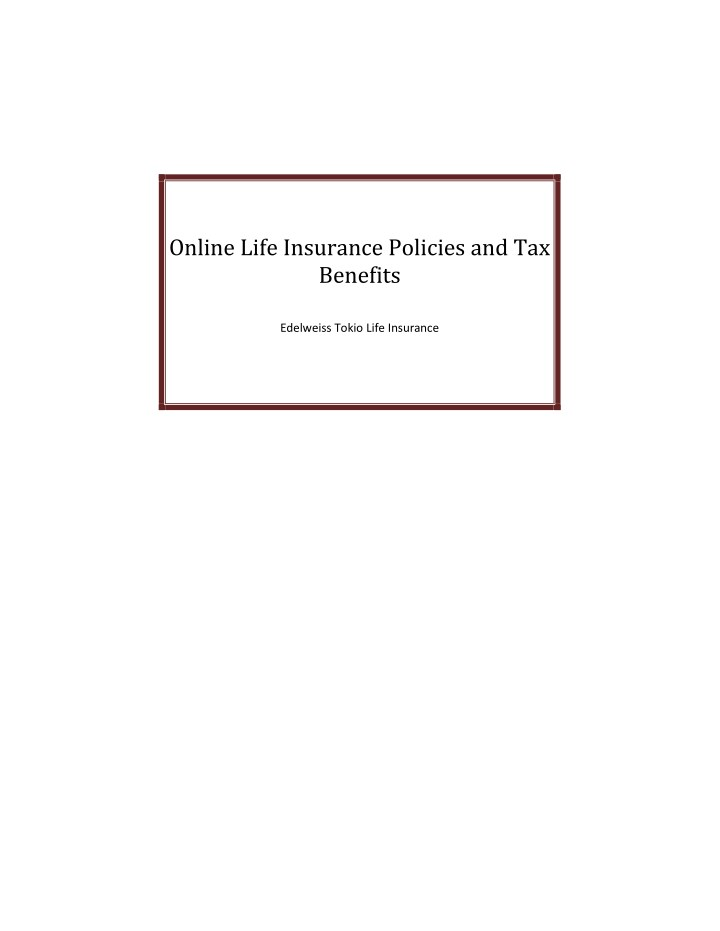 online life insurance policies and tax benefits n.