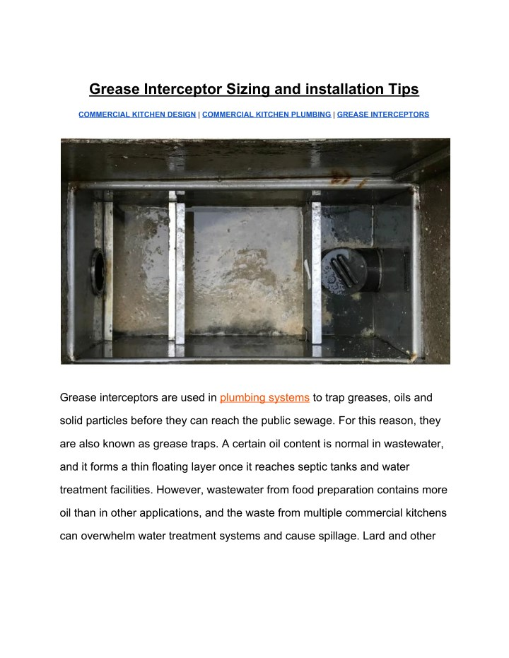 grease interceptor sizing and installation tips n.