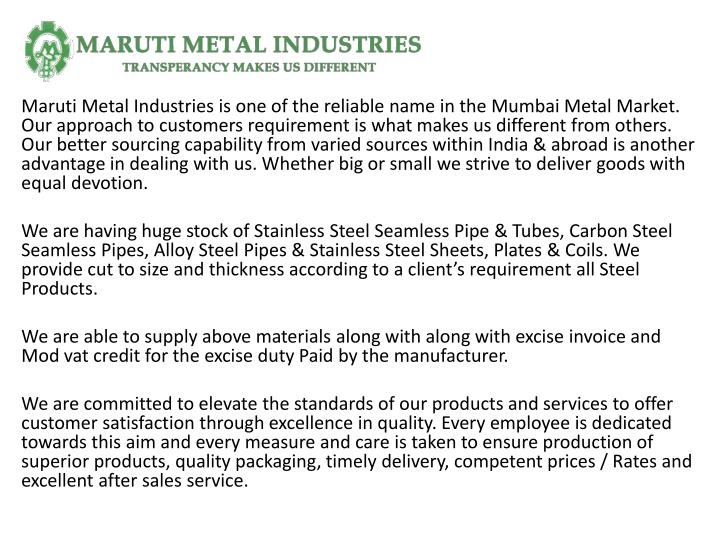maruti metal industries is one of the reliable n.