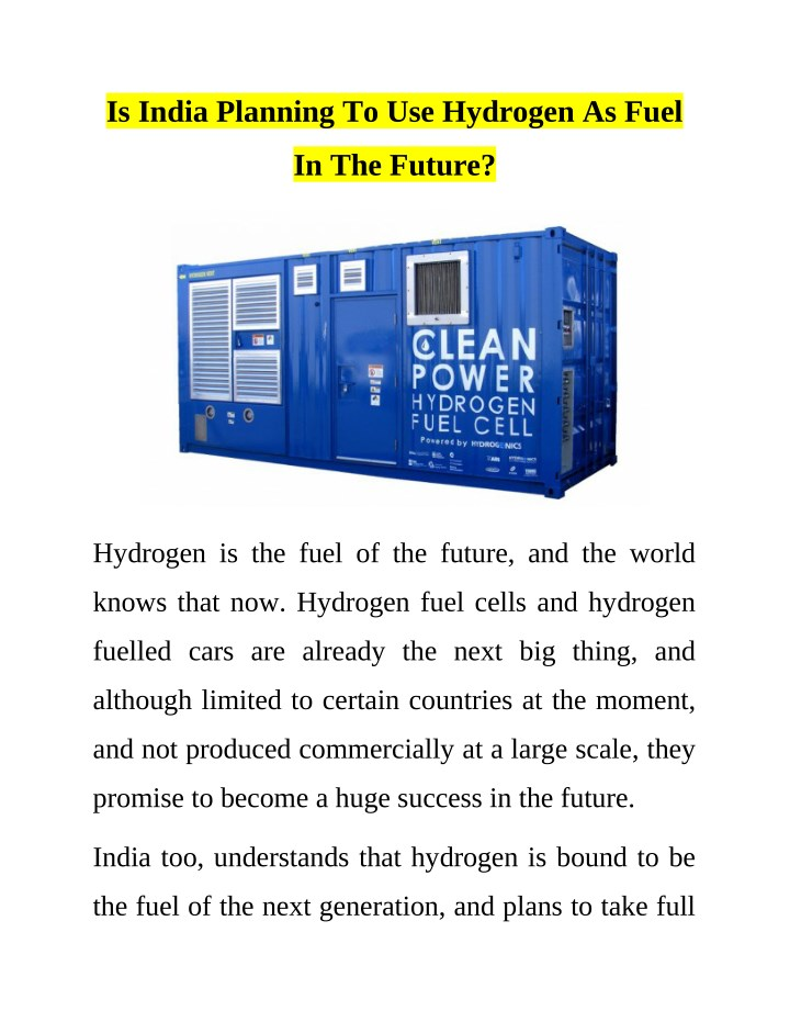 is india planning to use hydrogen as fuel n.