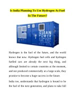 is india planning to use hydrogen as fuel