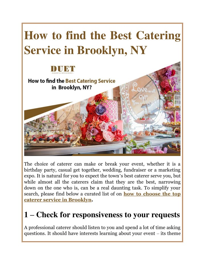 how to find the best catering service in brooklyn n.
