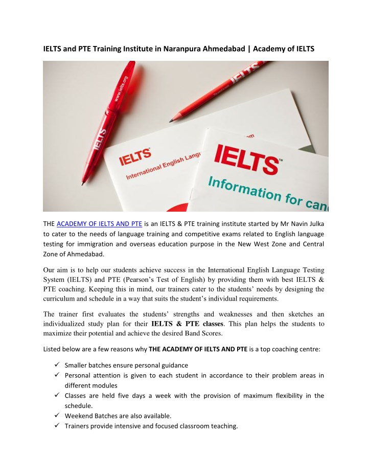 ielts and pte training institute in naranpura n.