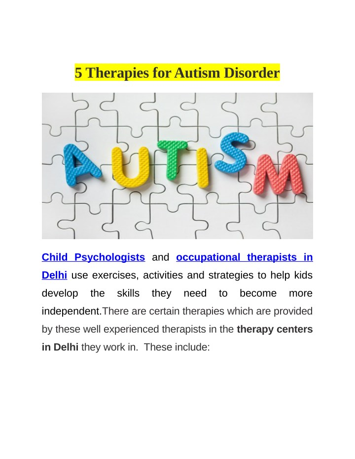 5 therapies for autism disorder n.