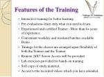 features of the training