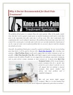 why a doctor recommended for back pain treatment