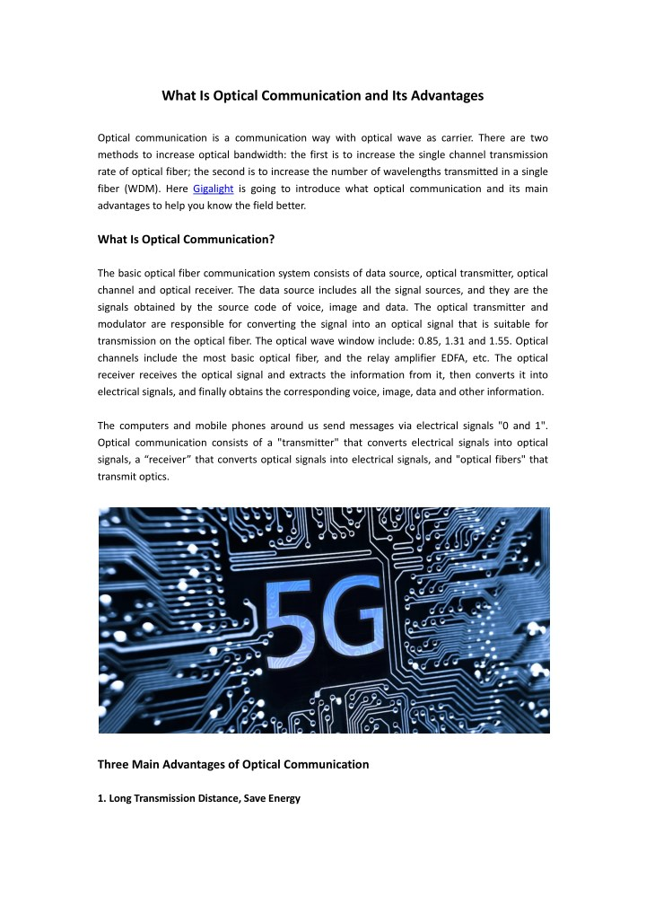 what is optical communication and its advantages n.
