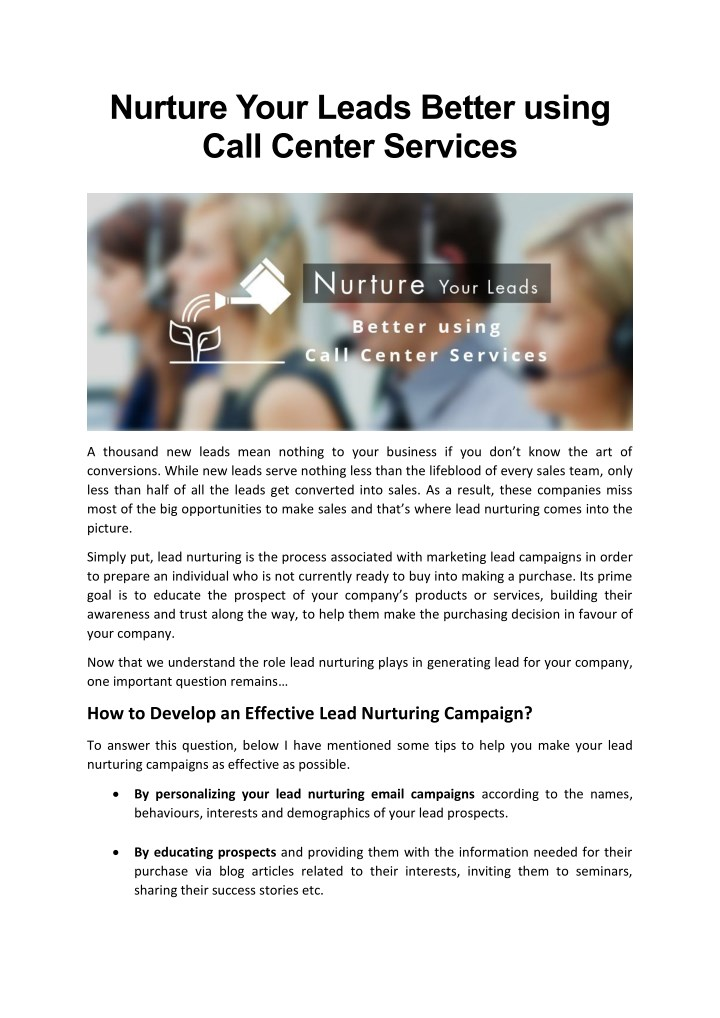 nurture your leads better using call center n.