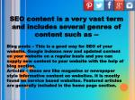 seo content is a very vast term and includes