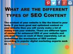 what are the different types of seo content