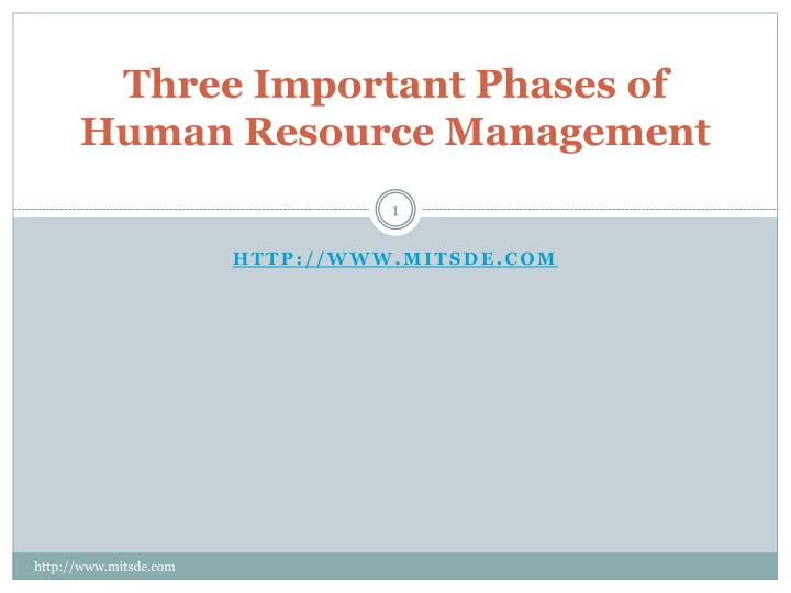 three important phases of human resource management n.