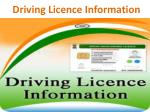 d riving l icence information