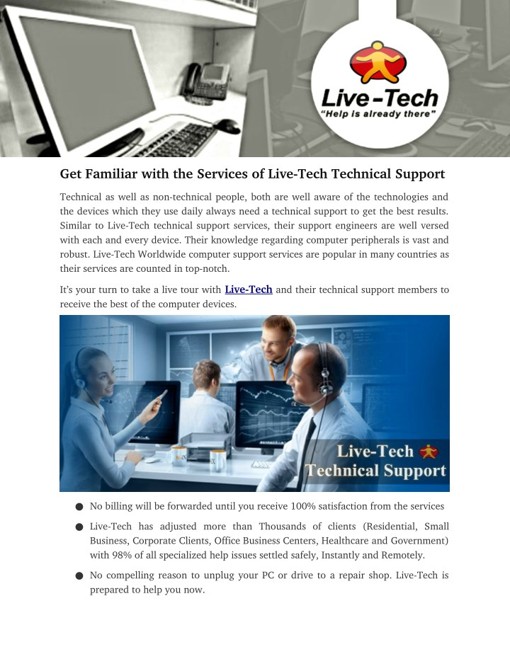 get familiar with the services of live tech n.