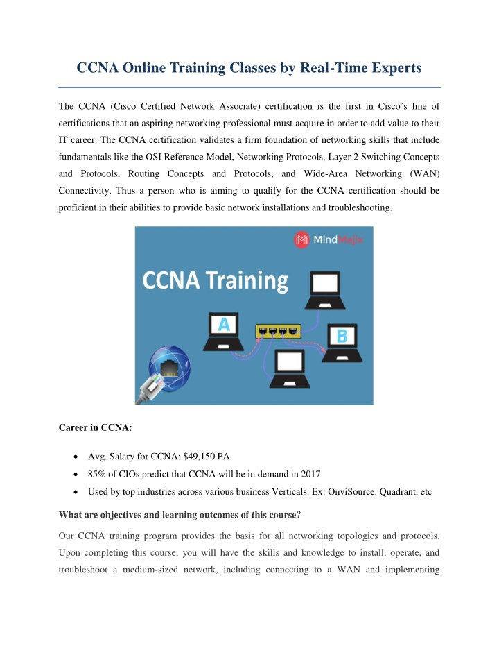 ccna online training classes by real time experts n.