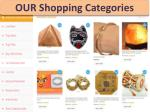 our shopping categories