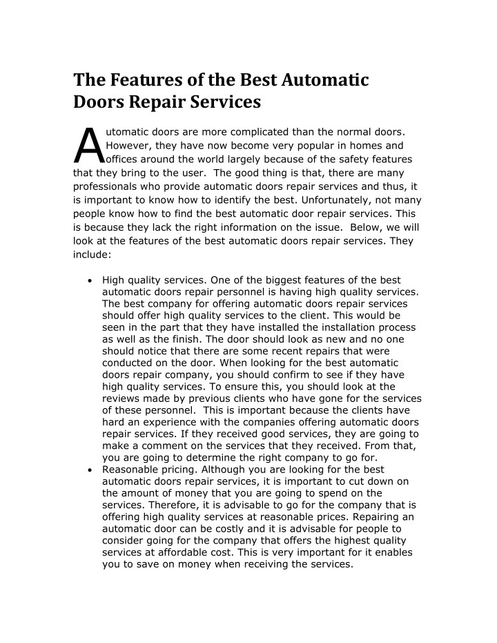 the features of the best automatic doors repair n.