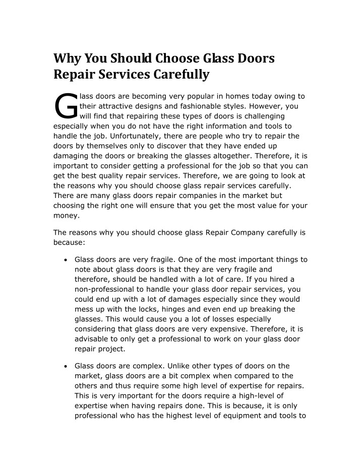 why you should choose glass doors repair services n.
