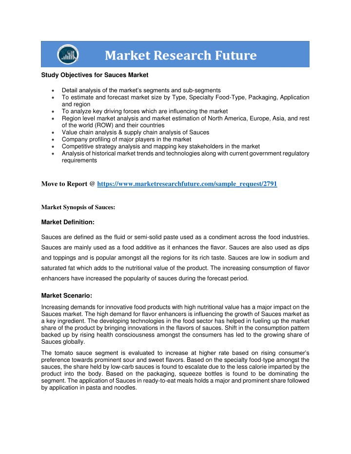 study objectives for sauces market n.