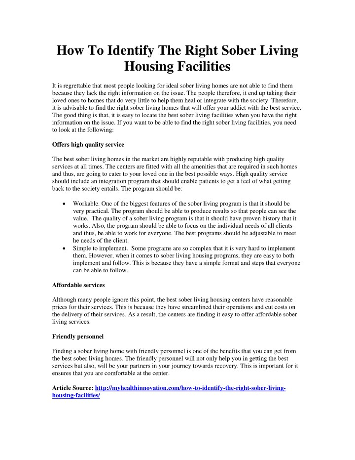 how to identify the right sober living housing n.