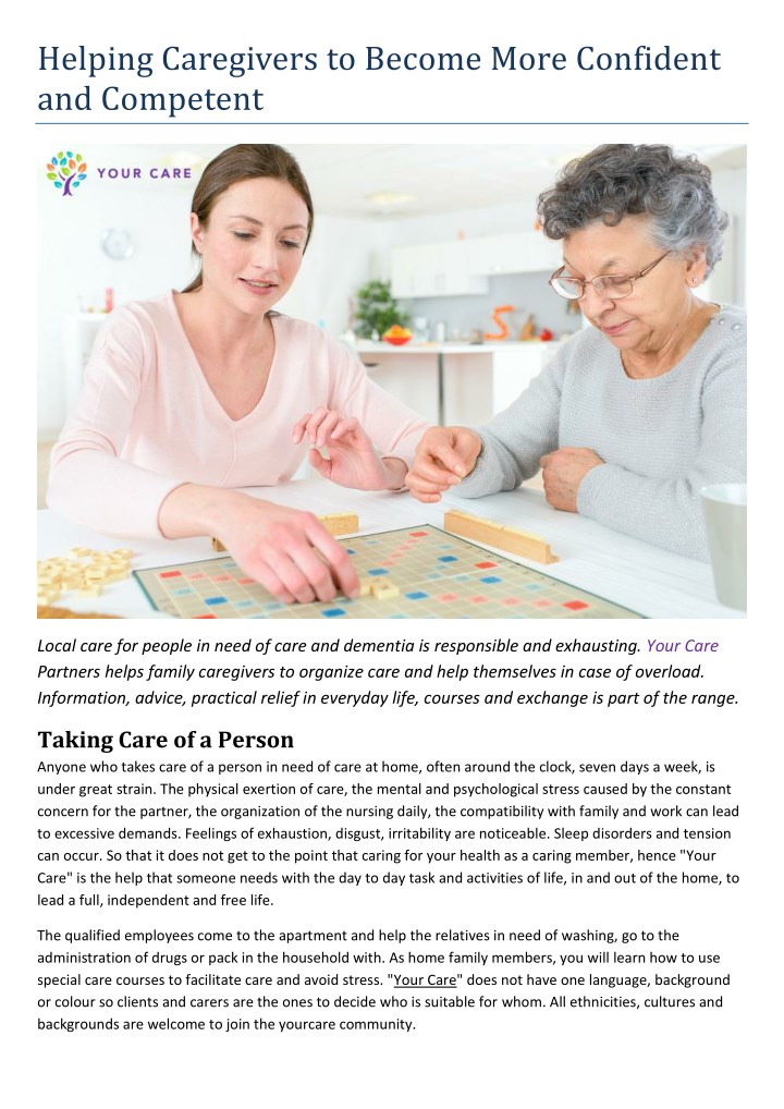 helping caregivers to become more confident n.