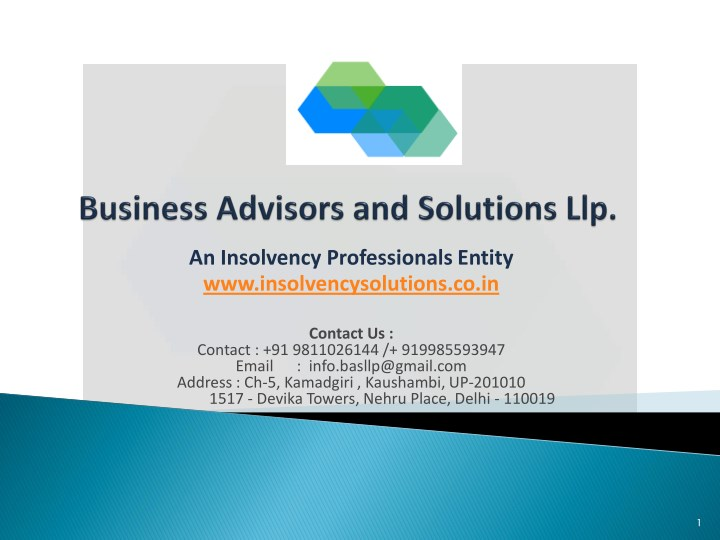 an insolvency professionals entity n.